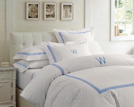 greek key motif - blue Greek key banding on bed linens - Williams-Sonoma via Atticmag