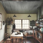 corrugate tin panels - kitchen ceiling by Sharyn Cairns via Atticmag