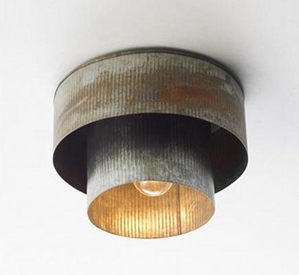 corrugated tin panels - double drum shade light fixture from Shades of Light via Atticmag