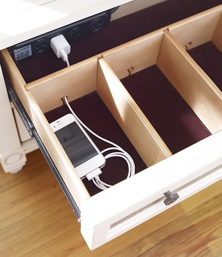 kitchen cabinet organizers - cell phone charging station drawer by Art Van via Atticmag
