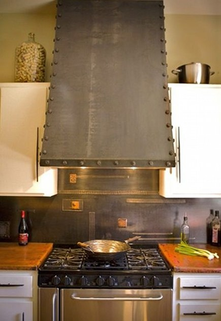 kitchen hood style - custom hand forged steel range hood by Oak Hill Iron via Atticmag