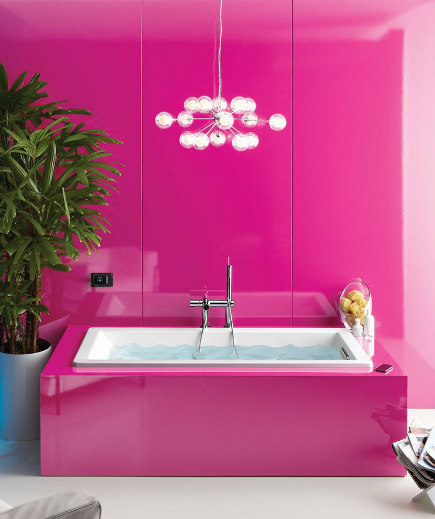 colorful modern bathrooms - Shocking pink bath with VibrAcoustic tub - Kohler via Atticmag