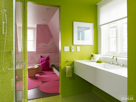 colorful modern bathrooms - lime green bath with glass tile floor and shower - Kohler via Atticmag