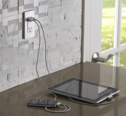 high tech home - T5630 Combination USB Charger and Wall Receptacle - Leviton via atticmag