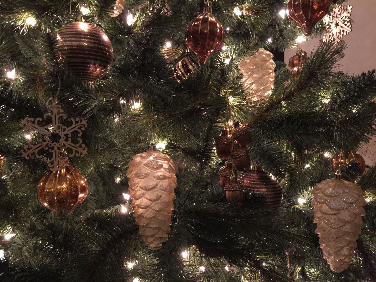 Christmas decor - mercury glass-like ornaments on Allison's Christmas tree - Atticmag
