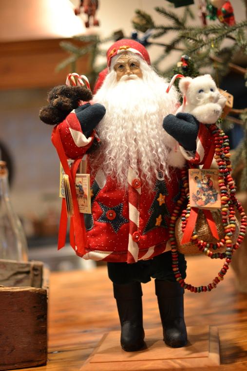Christmas decor - Lynn Haney Collection Candy Cane Santa - Atticmag