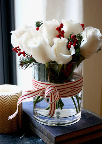 Christmas flowers with candy-cane ribbon - Victoria McGinley via Atticmag