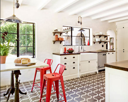 modern bar stools - white industrial style kitchen with red bar stools – jhdesign via Atticmag
