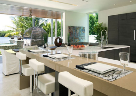 modern bar stools - kitchen with white upholstered bar stools – Tuthill Architecture via Atticmag