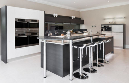 modern bar stools - minimalist kitchen with LEM Piston bar stools – Alexander James Interiors via Atticmag