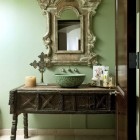 bathroom table vanities - powder room with antique table vanity - sandraespinetblog via atticmag