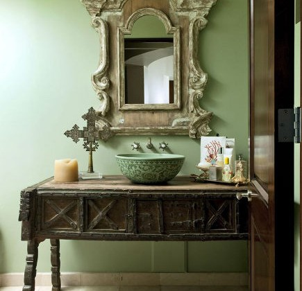 bathroom table vanities - powder room with antique table vanity - sandraespinetblog via atticmag