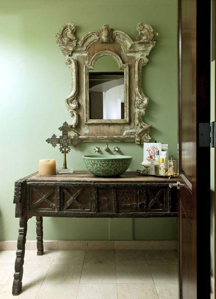 Bathroom Table Vanities Powder Room With Antique Vanity Sandraespinetblog Via Atticmag