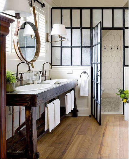 bathroom table vanities - industrial style master bath with potting table as vanity - Brandon Barre photo via Atticmag