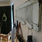 repurposing ideas - vintage painted shutter coat rack from homedit via Atticmag