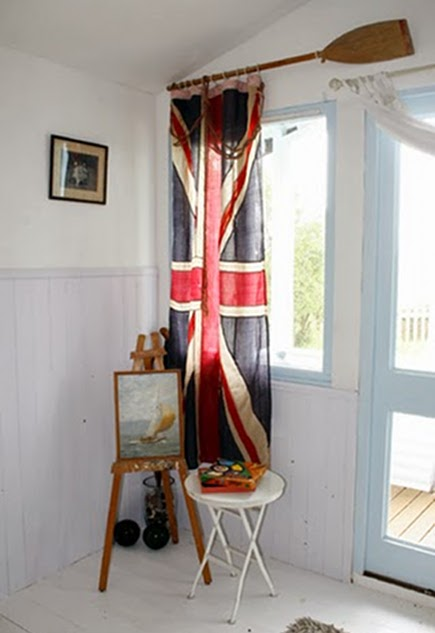 repurposing ideas - Union Jack flag repurposed as a curtain from The House by the Danube via Atticmag
