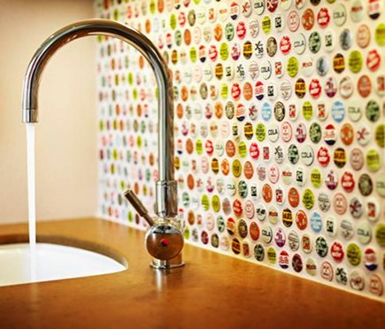 repurposing ideas - bottle cap backsplash from homedit via Atticmag