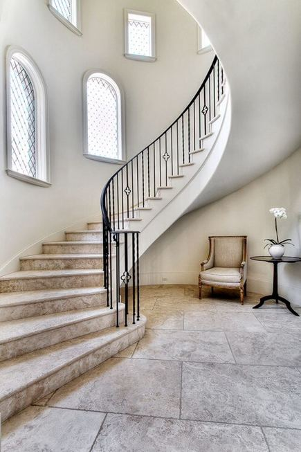sculptural interior staircases - floating curved staircase - Parker House via Atticmag