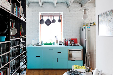 1950s kitchen colors - aqua cabinet European loft kitchen - houzz via Atticmag