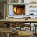 wood burning kitchen fireplace - David Michael Miller via Atticmag