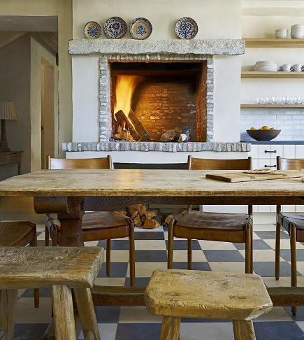 Wood Burning Kitchen Fireplace