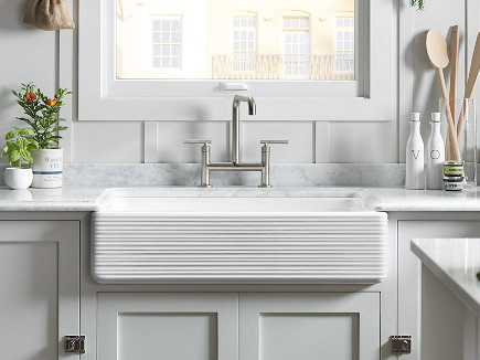 Kohler Whitehaven sink - Hayridge farm sink with tall apron - Kohler via Atticmag