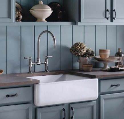 Kohler Whitehaven sink -enameled cast iron farm sink - Kohler via Atticmag