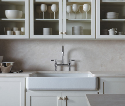 Kohler Whitehaven sink - short enameled cast iron farm sink - Kohler via Atticmag