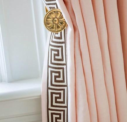 drapery details - pink draperies with greek key leading edge - houseandhome via atticmag