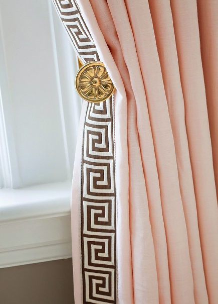 drapery details - pink draperies with greek key leading edge - houseandhome via atticmag
