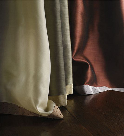 drapery details - curtains with Laurel glass-beaded silk border - Samuel and Sons via Atticmag
