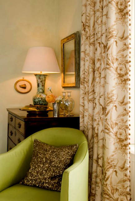 drapery details - chintz curtains with leading edge trim - Guy Goodfellow via Atticmag