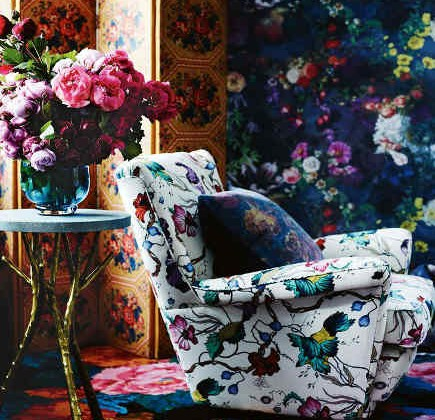 mixing patterns - layered rose patterns in a sitting room - Vogue Living via Atticmag