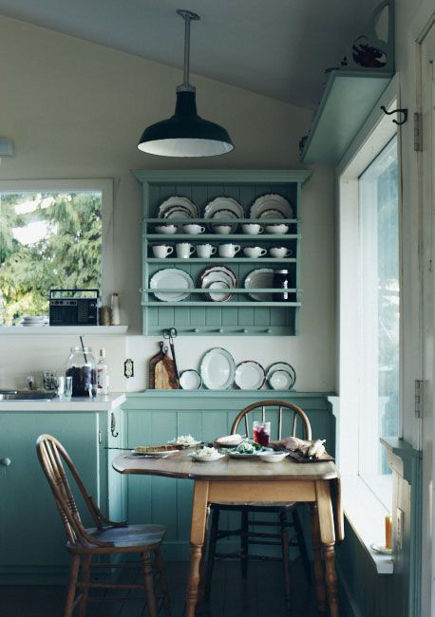 blue green kitchens - light blue-green cottage style kitchen - Michael Graydon via Atticmag