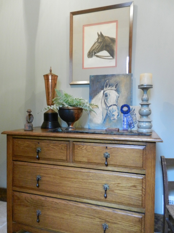 equine collectibles in Allison's laundry room - Atticmag