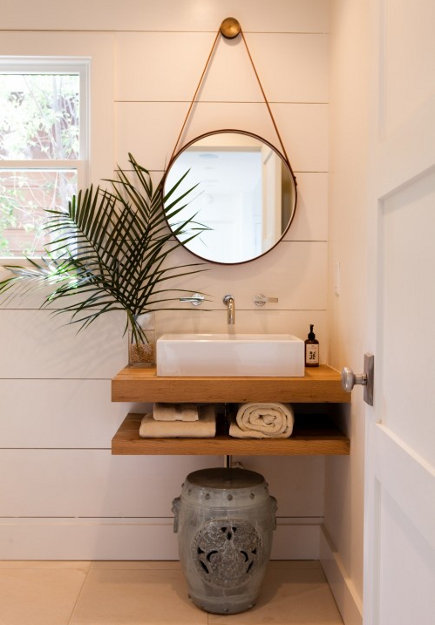 modern bathrooms - teak wood double-shelf with a vessel sink in a bathroom – Kathleen di Paolo Designs via Atticmag