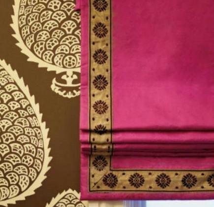 roman shade details - pink roman blind with anthemion print tape by Palmer Weiss - stylecarrot via atticmag