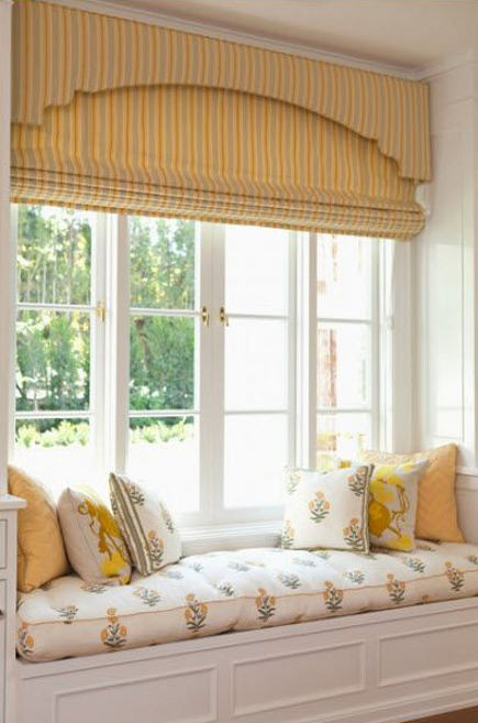 roman shade details - yellow striped roman shade beneath a matching upholstered cornice - Elizabeth Dinkel via Atticmag