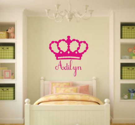 pink bedrooms - pink princess name wall decal - etsy via atticmag