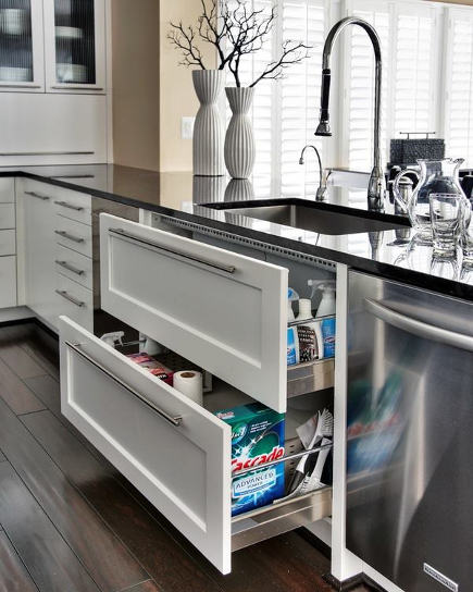 kitchen cabinet pull out ideas - kitchen with under sink base drawers - capitoldesign via atticmag