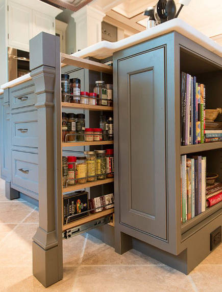 kitchen cabinet pull out ideas - pilaster spice pull out - homebunch via atticmag