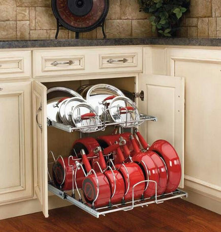 kitchen cabinet pull out ideas - base cabinet double tier pout and pan pull out - rev-a-shelf via atticmag