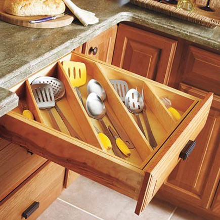kitchen cabinet pull out ideas - drawer with diagonal divider insert - diamond cabinets via atticmag