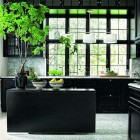 dark kitchen cabinets - Danish kitchen with black cabinets – Lonny.com via Atticmag