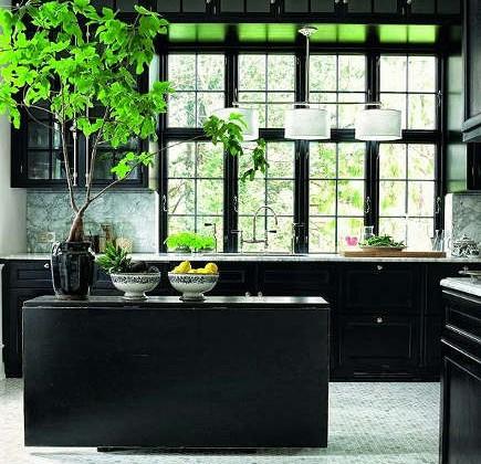 dark kitchen cabinets - Danish kitchen with black cabinets – Lonny.com via Atticmag