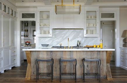 weathered wood kitchen island - kitchen with vertical wood planks and crossbucks on the island - stacy bass photography via Atticmag