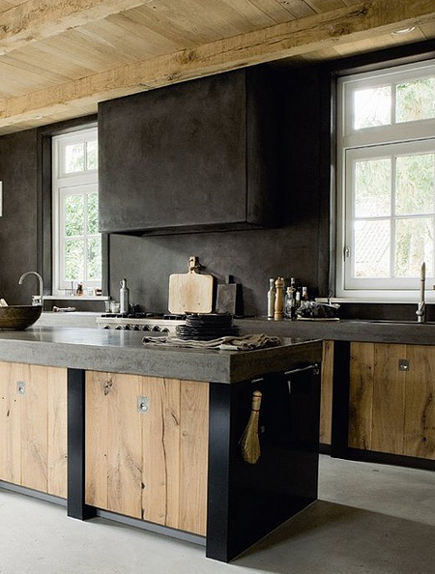 weathered wood kitchen island - modern Dutch kitchen with weathered wood cabinet doors in the island - Elle Interiors-Norway via Atticmag