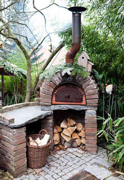 backyard built in ideas - Dorothee Schumacher's outdoor wood-burning pizza oven – theselby via atticmag