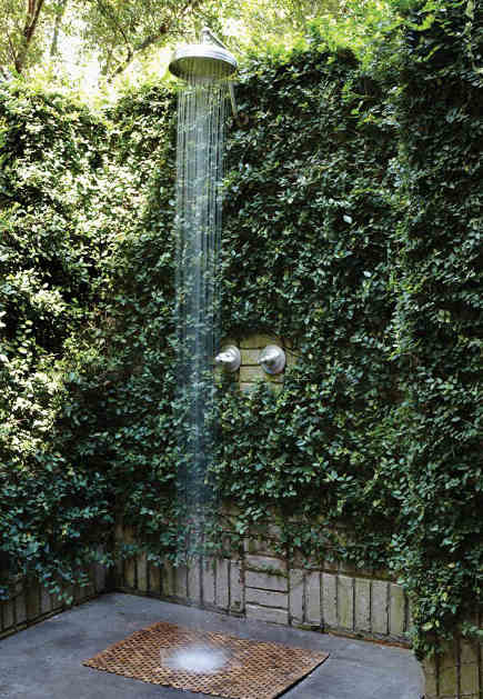 backyard built in ideas - outdoor shower in an Alabama house tucked into a fig-vine covered nook – Birmingham home and garden via Atticmag