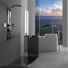 shower system intelligence - bathroom with Graff ski shower - Graff via Atticmag
